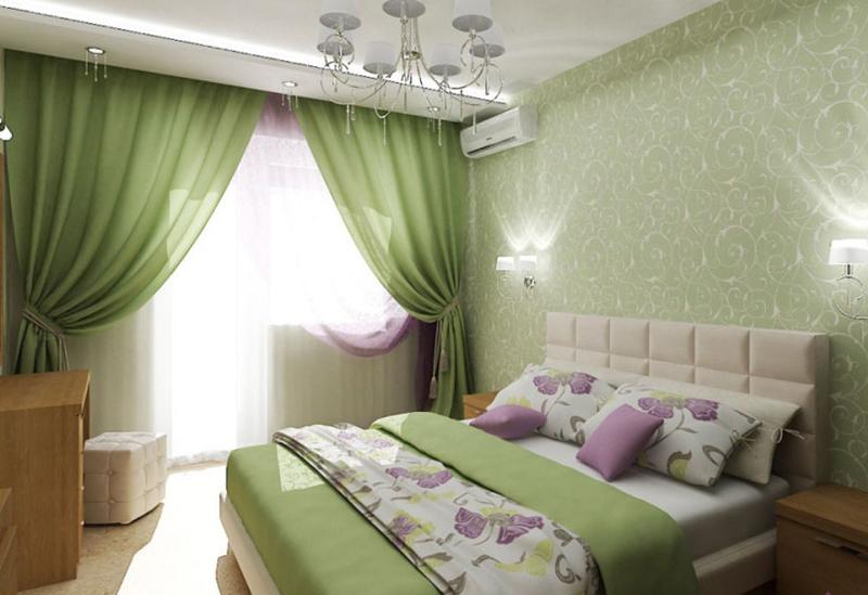 Интерьер спальни в зеленом